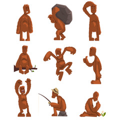 Funny bigfoot cartoon character set, mythical creature in different situations vector Illustrations on a white background