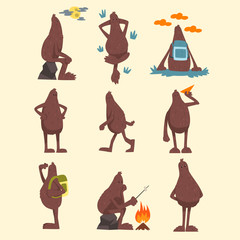 Bigfoot cartoon character set, funny mythical creature in different situations vector Illustrations on a white background