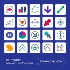 Modern Simple Set of arrows, charts, video, cursors Vector flat Icons. Contains such Icons as  double,  right,  circular,  up,  dots,  circle and more on blue background. Fully Editable. Pixel Perfect
