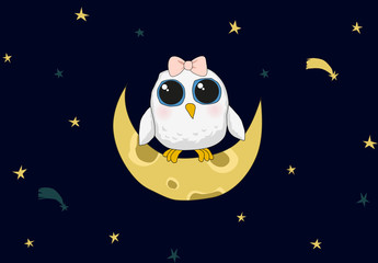 Cute white baby owl is sitting on the moon. Night background with stars.