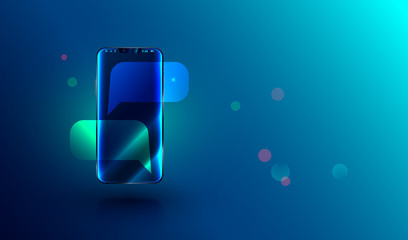 modern frameless smartphone with empty chat bubbles on screen. message or sms on mobile phone. realistic vector illustration.
