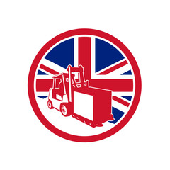 Icon retro style illustration of a British logistics operations with forklift truck with United Kingdom UK, Great Britain Union Jack flag set inside circle on isolated background.