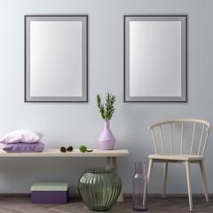 Mock up poster frame in hipster interior background, 3D illustration