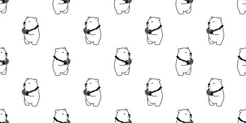 Bear seamless pattern vector polar bear panda camera isolated photographer wallpaper background white