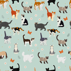 Vector seamless pattern with cats and flowers