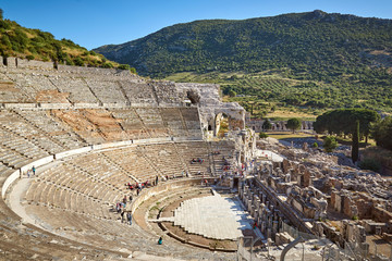 The Great Theatre ruins in the ancient Ephesus city in Turkey