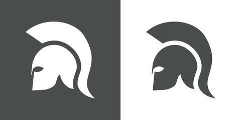 Icono plano casco espartano en gris y blanco