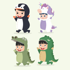 Set of cartoon little kid characters in Animals costumes