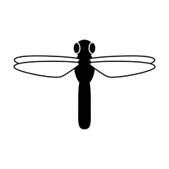 Icono plano libelula en color negro