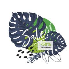 Vector banner for shop web site. Summer sale. Tropical trendy theme. Palm leaves, brush spot. Business promotion, social media marketing, SMM, flyer, online shopping, advertisting coupon, newsletter.
