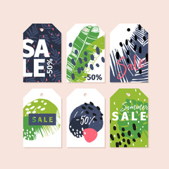 Vector set of tag badges. Summer sale. Tropical trendy theme. Palm leaves, brush spot. Business promotion, discount banner, offer flyer, online shopping, advertisting coupon, newsletter.