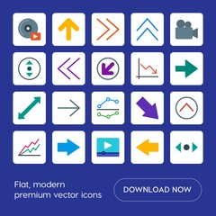 Modern Simple Set of arrows, charts, video, cursors Vector flat Icons. Contains such Icons as  mouse,  next, finance,  direction,  right, up and more on blue background. Fully Editable. Pixel Perfect
