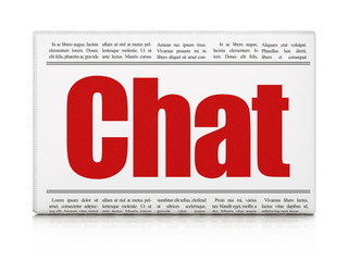 Web design concept: newspaper headline Chat on White background, 3D rendering