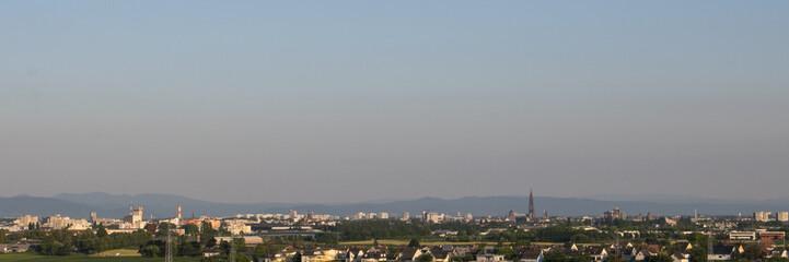 Vue panoramique sur Strasbourg depuis Mundolsheim