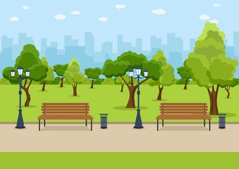 City Park wooden bench, lawn and trees, trash can. Walkway and Street light. Town and city park landscape nature. Vector illustration