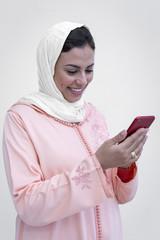 Nice Moroccan woman with hijab Talking on the phone