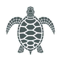 Icon sea turtle. Isolated gray symbol on white background. Tattoo. Vector illustration