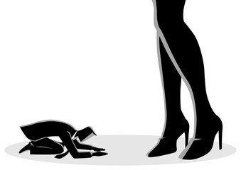 Businessman prostrated under female high heels