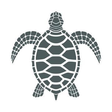 Icon sea turtle. Isolated gray symbol on white background. Tattoo. Vector illustration