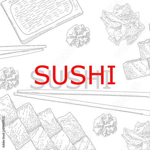 Concept design of the invitation sushi restaurant vector stock concept design of the invitation sushi restaurant vector stopboris Images