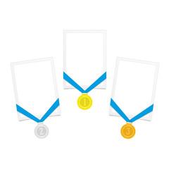 Frame with award medal.