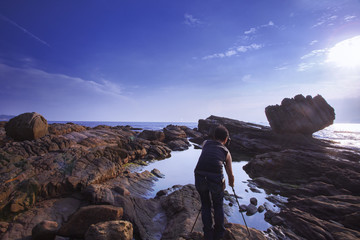 Taiwan's famous scenic area, the northern coast of Keelung, natural geological rocky shores and the sea,