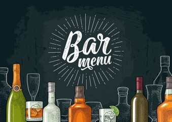 Template for Bar menu alcohol drink.