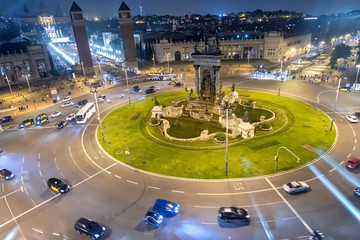 Spain Square at night, aerial view of traffic