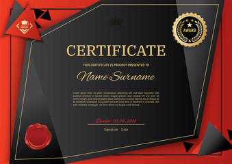 Official black certificate with red black triangle design elements. Black emblem, gold text