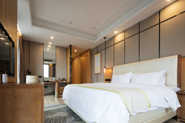 bedroom in the modern hotel