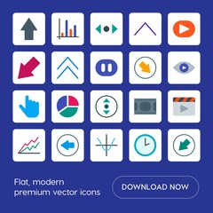 Modern Simple Set of arrows, charts, video, cursors Vector flat Icons. Contains such Icons as  people, clock,  previous,  cursor,  hour,  bar and more on blue background. Fully Editable. Pixel Perfect