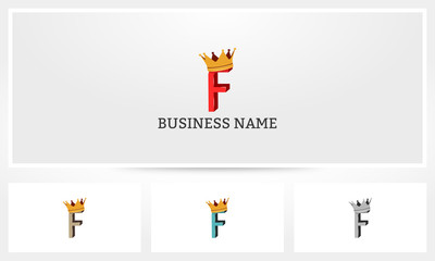 F Letter Alphabet Crown Logo
