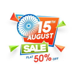 15th of August sale, poster or banner design with Ashoka Wheel and 50% off offers on white background.