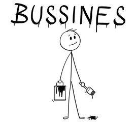 Cartoon stick man drawing conceptual illustration of businessman with brush and paint can painting or drawing the word business.