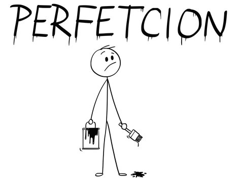 Cartoon stick man drawing conceptual illustration of businessman with brush and paint can painting or drawing the word perfection with spelling mistake.