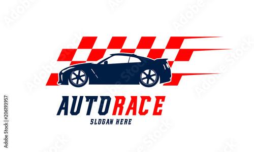 Racing Car Logo Designs Vector Automotive With Flag Template