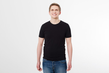 Young man wearing blank t-shirt isolated on white background. Copy space. Place for advertisement. Front shirt view. Summer clothes