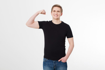 Strong Young man wearing blank t-shirt isolated on white background. Copy space. Place for advertisement. Front shirt view. Summer clothes