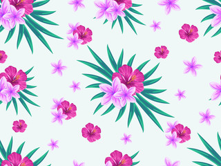 Vector seamless tropical pattern with palm leaves and flowers on white background. Colourful floral illustration for textile, print, wallpapers, wrapping.