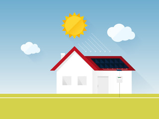 electricity consumption sun energy house vector illustration