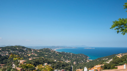 Views from the Begur castle of l'Estartit village and the Medes islands