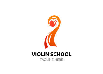 Logo template for Violin school, academy, web site