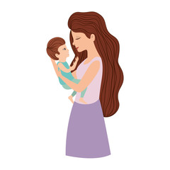 mother lifting son characters vector illustration design