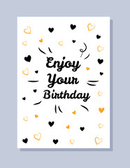 Enjoy Your Birthday Postcard Vector Illustration