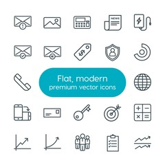 Modern Simple Set of business, charts, mobile, email Vector outline Icons. Contains such Icons as  postal,  financial,  magazine,  stock and more on white background. Fully Editable. Pixel Perfect
