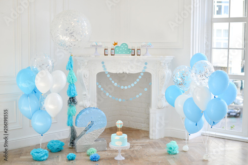 Two Years Birthday Decorations For Party Blue And White Balloons