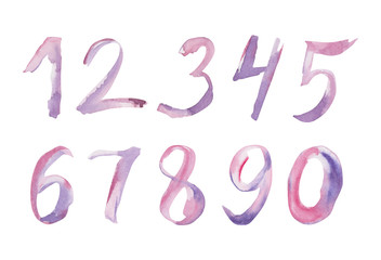 Set of watercolor hand written purple numbers. Illusration with calligraphic sign isolated on white background.