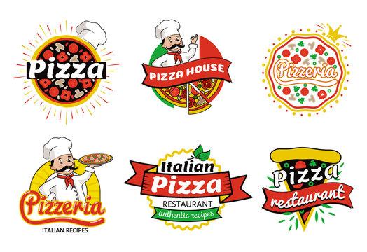 Italian Pizza Restaurant Logos Vector Illustration