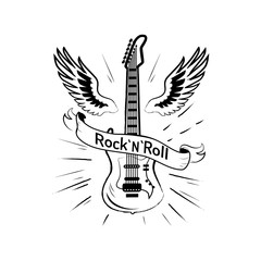 Rock n roll Picture and Guitar Vector Illustration