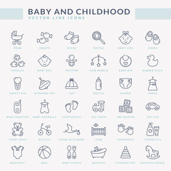 Baby outline icons. Vector set.